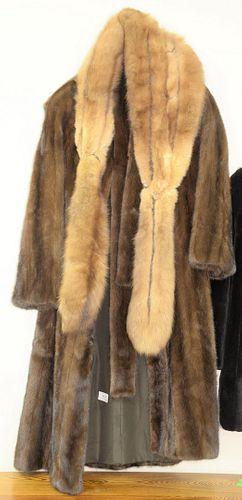 Tan mink full length coat.