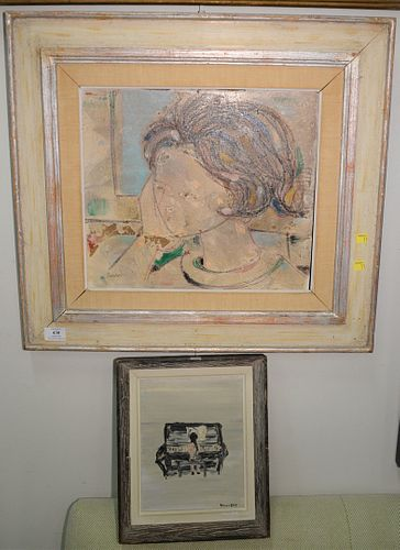 """Two framed pieces, Lazzaro Donati (b. 1961), mixed media on wood of bust, 14"""" x 16""""; and Verna Hull (1916-2002), oil on board, girl playing piano, 10"""""""