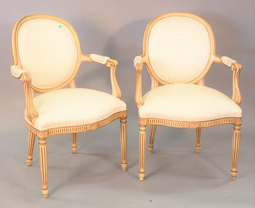 """Pair of Hickory Louis XVI style bergeres, white with gold frame, ht. 37"""", wd. 26""""."""