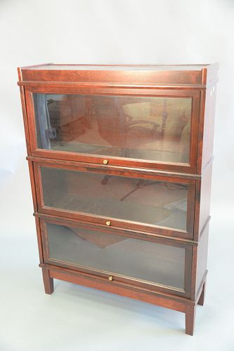 """Pair of contemporary barrister bookcases, three sections each, ht. 53"""", wd. 35""""."""