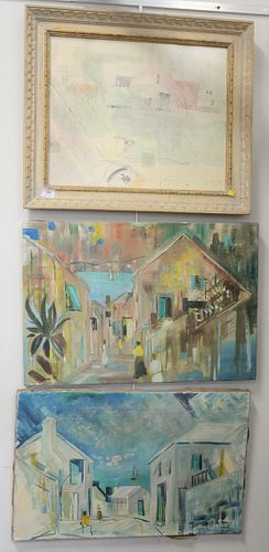 Three Alfred Birdsey (1912 - 1996) to include two unframed oil on canvas of coastal street scenes and one watercolor in contemporary frame of harbor s