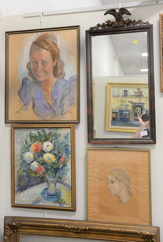 Five piece group to include portrait of a girl signed illegibly; oil on canvas still life of flowers in a vase, signed lower left; lithograph portrait