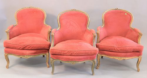 Six French chairs to include three French style armchairs with caned back and seat (as is) along with three bergeres with red upholstery.