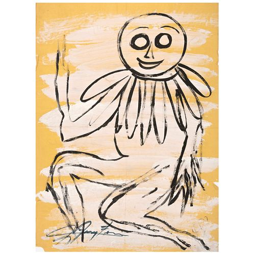"""CHUCHO REYES, Boceto payaso, ca.1960, Signed on front with monogram on back, Aniline on tissue paper, 27.3 x 20"""" (69.5x51cm), Certificate"""
