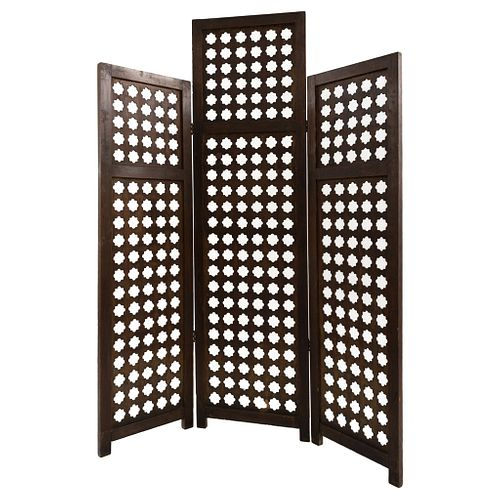 """Folding Screen, 19th century, Carved in wood,3 sections, 71.6 x 59"""" (182 x 150 cm), Chucho Reyes Collection, Certificate"""