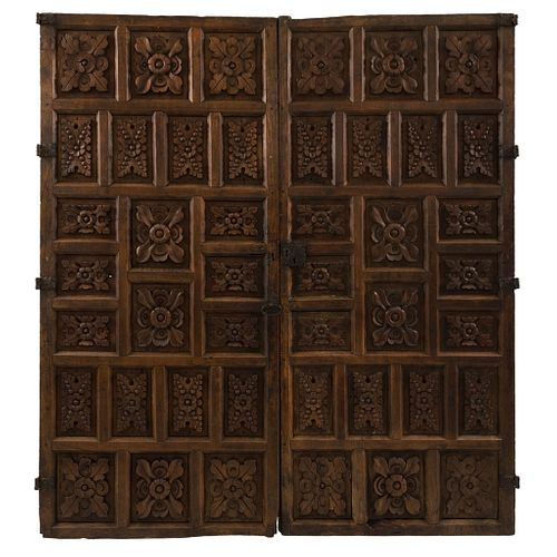 """Headboard, Mexico, late 19th century, Carved, inked wood, 65.7 x 65.3"""" (167 x 166 cm), Certificate"""