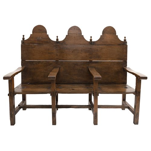 "Bench, Mexico, 20th century, Carved, inked wood, 51.1 x 62.9 x 62.9"" (130 x 160 x 60 cm), Certificate"