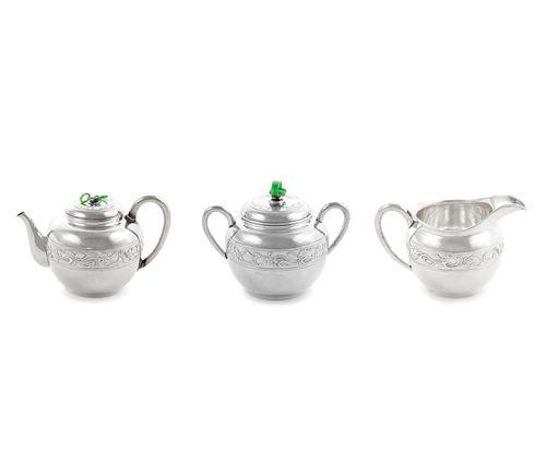 A Japanese Export Silver Three-Piece Tea Service