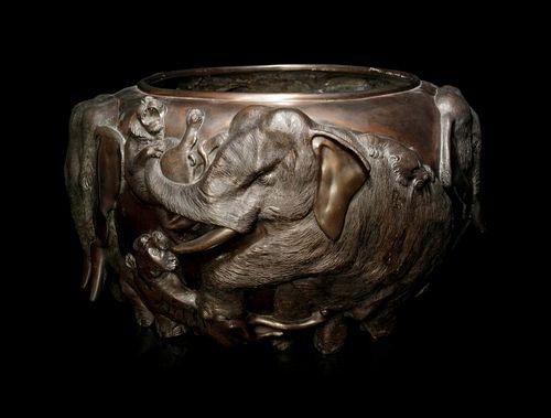 A Large Bronze 'Elephant' Jardinière