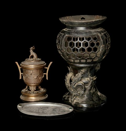 Two Bronze Incense Burners and a Chinese Pewter Tray