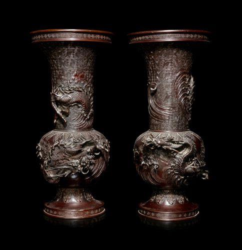 A Pair of Bronze Dragon Vases