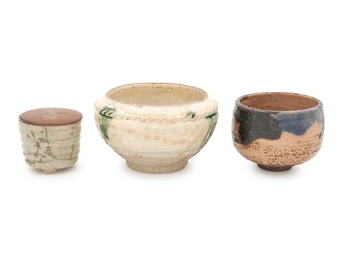 Three Glazed Pottery Tea Bowls
