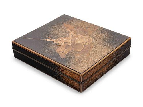 A Gold and Black Lacquer Writing Box, Suzuribako