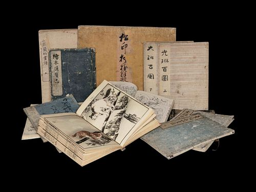[ILLUSTRATED BOOKS] <br>A group of woodblock printed works about Japanese Paintings, comprising: