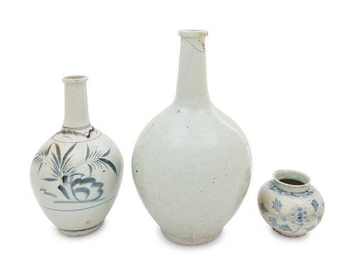 Three Korean Porcelain Bottle Vases