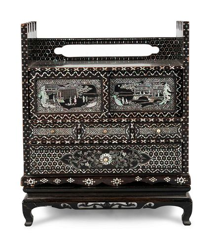 A Korean Black Lacquered and Mother-of-Pearl Inlaid 'Najeon Chilgi' Table Cabinet