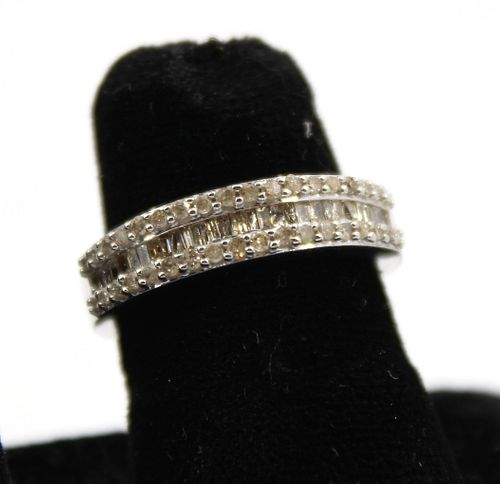 Silver and Diamond Band Ring