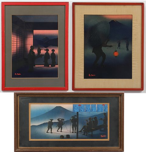 Signed Contemporary Embellished Woodblock Prints,3
