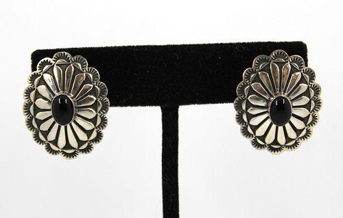 D. Cadman Navajo Indian Silver & Onyx Earrings