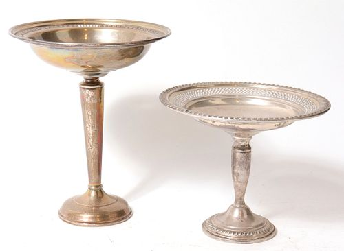 Weighted Silver Pierced Rim Compotes, 2