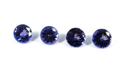 3.30 cttw. Loose Round-Cut Tanzanite Stones, 4