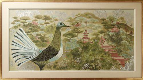 Marya Gu Ranowska Temples and Bird Oil on Canvas