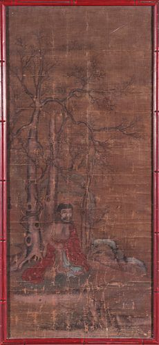 Antique Chinese Watercolor on Silk & Paper