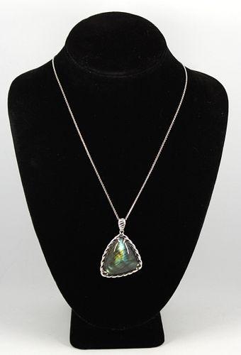 Silver & Labradorite Pendant Necklace