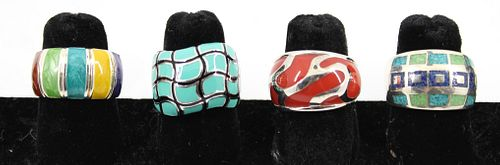 Four Silver and Enamel Wide Rings, 4