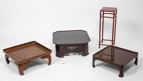 Asian Lacquered Wood Stands, 4