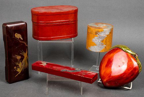 Asian Lacquered Wood & Papier Mache Boxes, 5