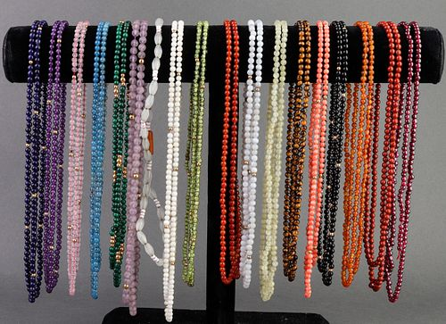 Multicolored Gemstone Beaded Necklaces, 18