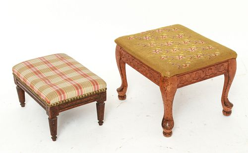 Wooden Footstools incl. Needlepoint, 2