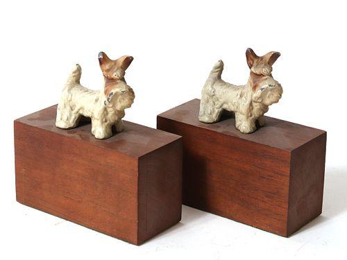 Cast Metal Scottie Dog Figural Bookends, Pair