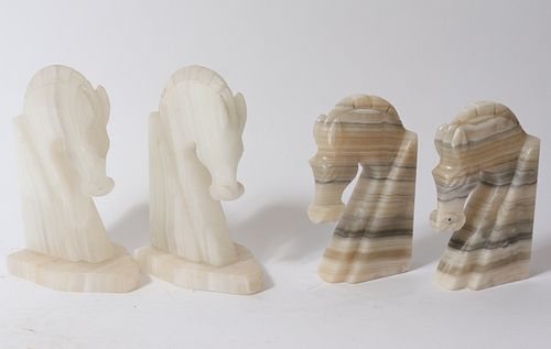 Onyx Horse Bookends, Two Pairs
