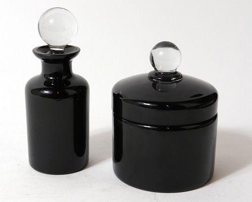 P. V. France Black Glass Vanity Accessories, 2 Pcs