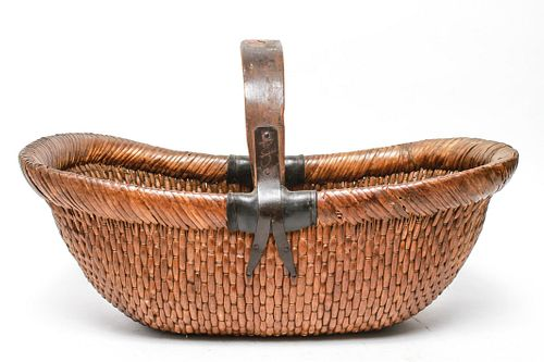 Chinese Woven Rattan Basket, Antique