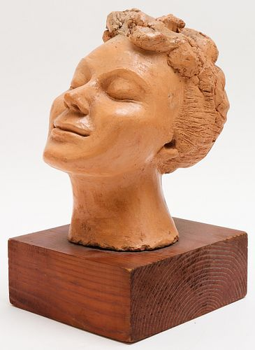 Eppy Signed Clay Sculpture, Head of Woman
