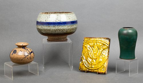 Misc. Mid-Century Art Pottery Vases & Tile, 4