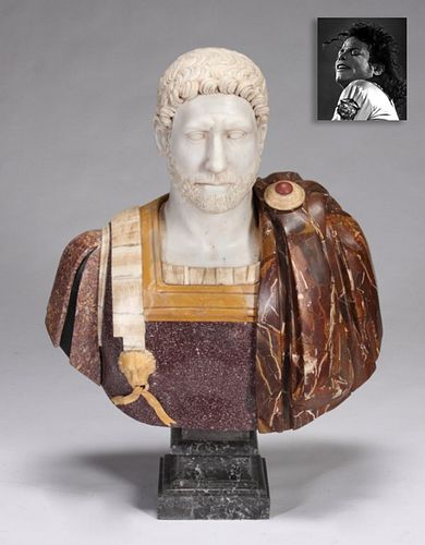 Colored Marble Roman Figural Bust, ex. Michael Jackson