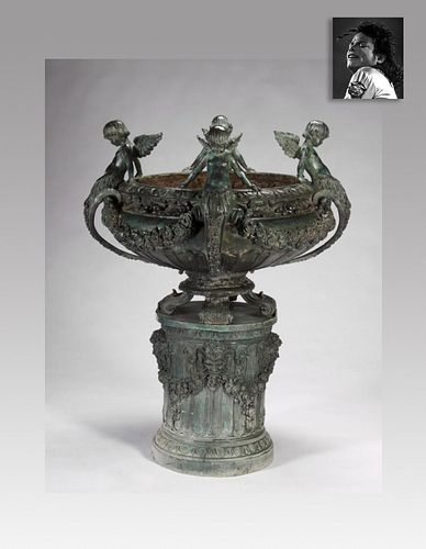 Brass Garden Font With Satyrs, ex. Michael Jackson