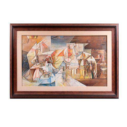 Ravishek. Kontsert. Firmado y fechado al reverso 1997. Óleo sobre tela. Enmarcado. 60 x 99 cm