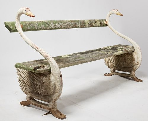American Garden Bench with Cast Iron Swans