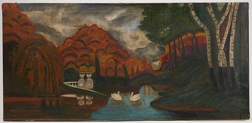 Fanciful Folk Art Landscape Painting