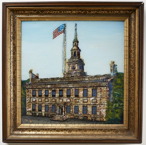 Reverse Glass Painting - Independence Hall
