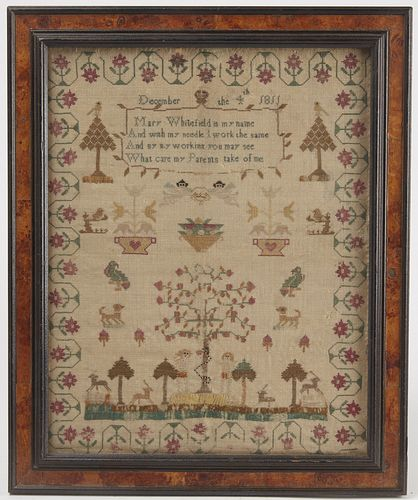 Adam and Eve Needlework Sampler - 1811