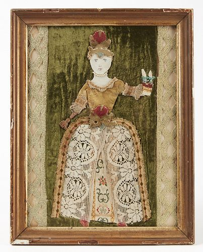 Fabric Mixed-Media Portrait of Lady