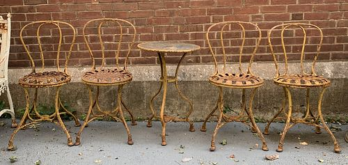 French Metal Cafe Table and Four Chairs
