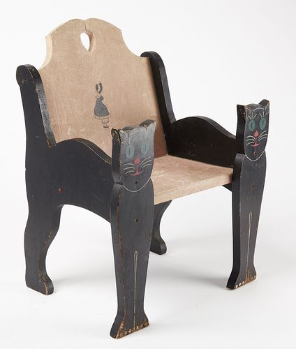 Folk Art Child's Cat Chair