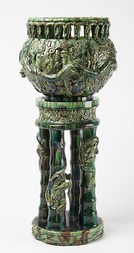 Majolica Pedestal Planter